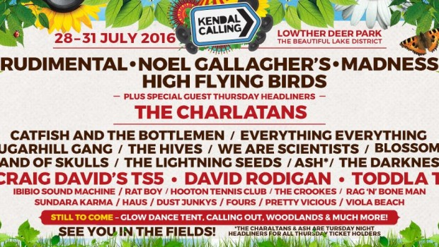 NOEL GALLAGHER, HIGH FLYING BIRDS, RUDIMENTAL, MADNESS AND THE CHARLATANS, TO HEADLINE KENDAL CALLING 2016 CATFISH AND THE BOTTLEMEN, CRAIG DAVID'S TS5, EVERYTHING EVERYTHING, SUGARHILL GANG, BAND OF SKULLS, BLOSSOMS, FESTIVAL, MUSIC, ARTS,
