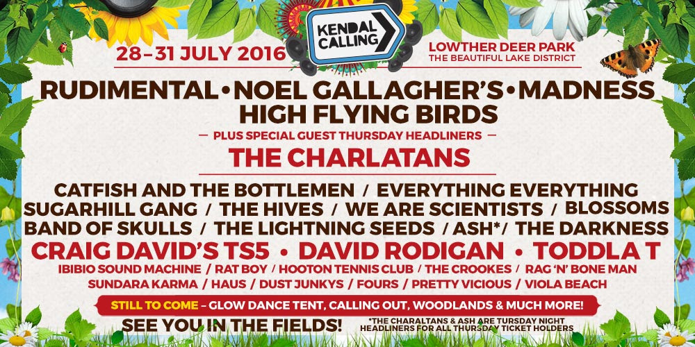 NOEL GALLAGHER'S HIGH FLYING BIRDS, RUDIMENTAL, MADNESS AND THE CHARLATANS, TO HEADLINE KENDAL CALLING 2016