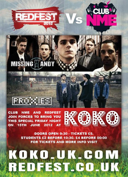 Flyer for Redfest vs Club NME Missing Andy and The Proxies